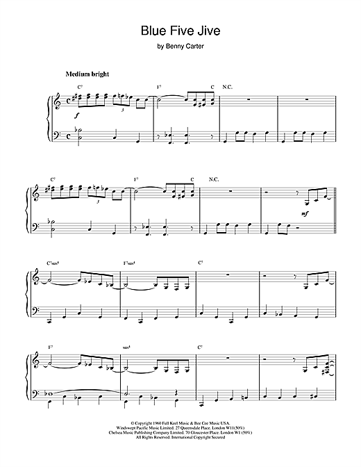 Benny Carter Blue Five Jive sheet music notes and chords. Download Printable PDF.