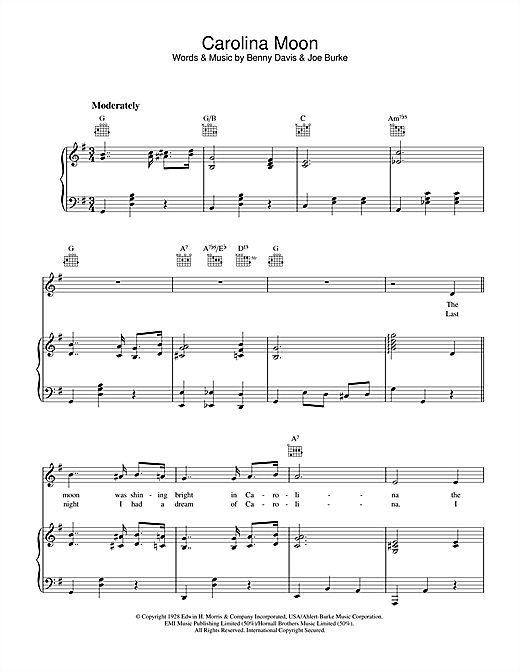Benny Davis Carolina Moon sheet music notes and chords. Download Printable PDF.