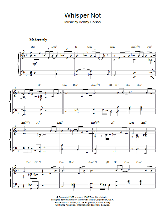 Antonio Carlos Jobim Whisper Not sheet music notes and chords. Download Printable PDF.
