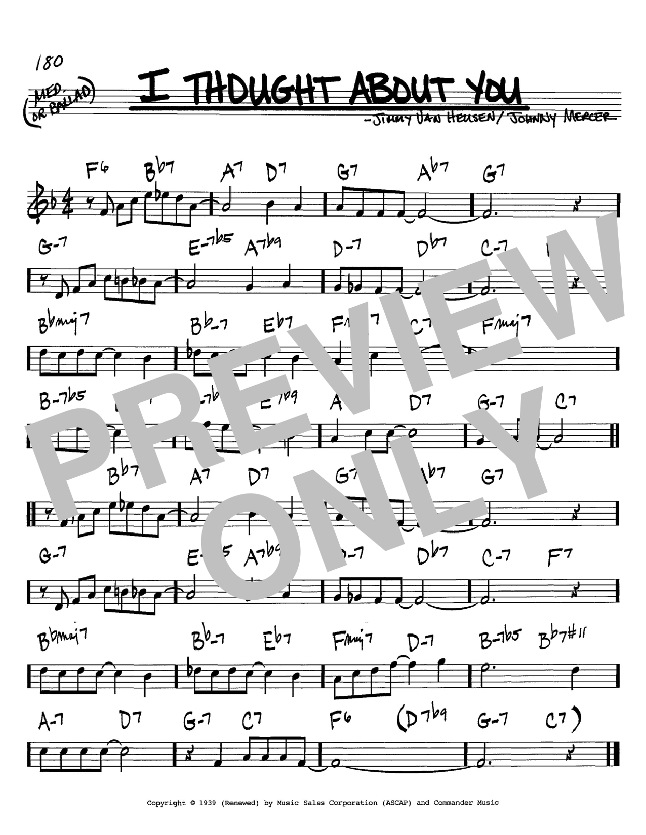 Benny Goodman I Thought About You sheet music notes and chords