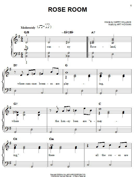 Benny Goodman Rose Room sheet music notes and chords