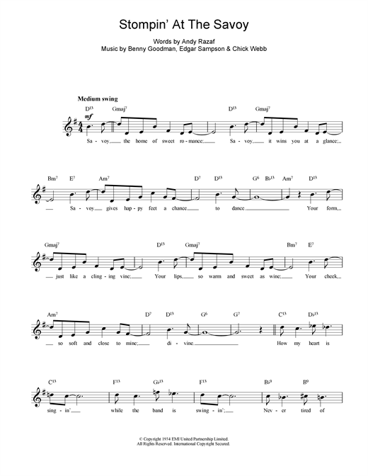 Benny Goodman Stompin At The Savoy sheet music notes and chords. Download Printable PDF.