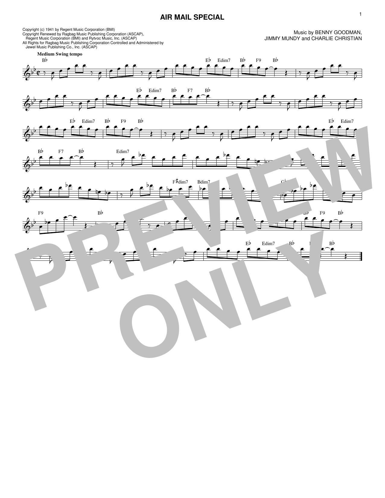 Benny Goodman & His Orchestra Air Mail Special sheet music notes and chords