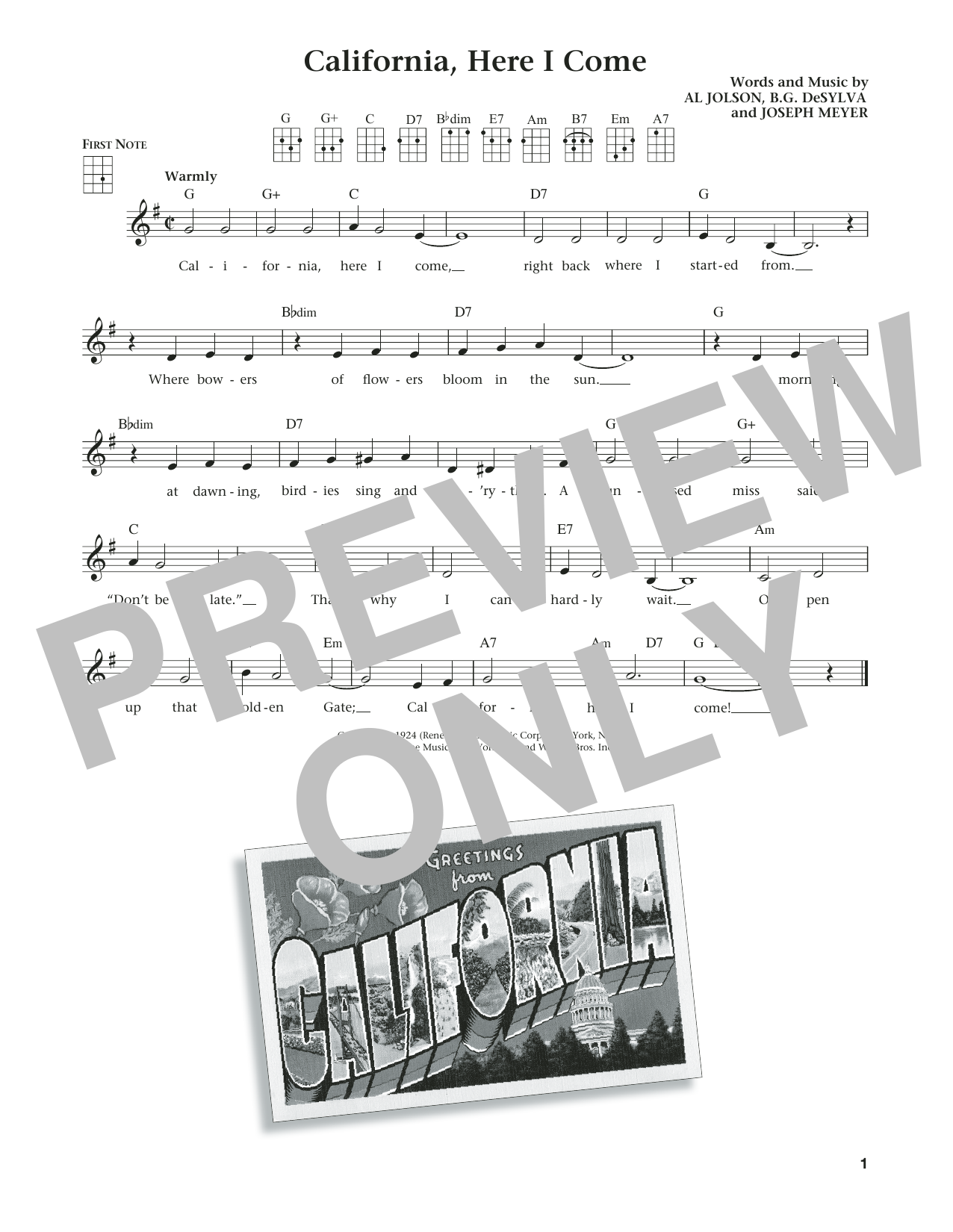 Benny Goodman & His Orchestra California, Here I Come (from The Daily Ukulele) (arr. Liz and Jim Beloff) sheet music notes and chords. Download Printable PDF.