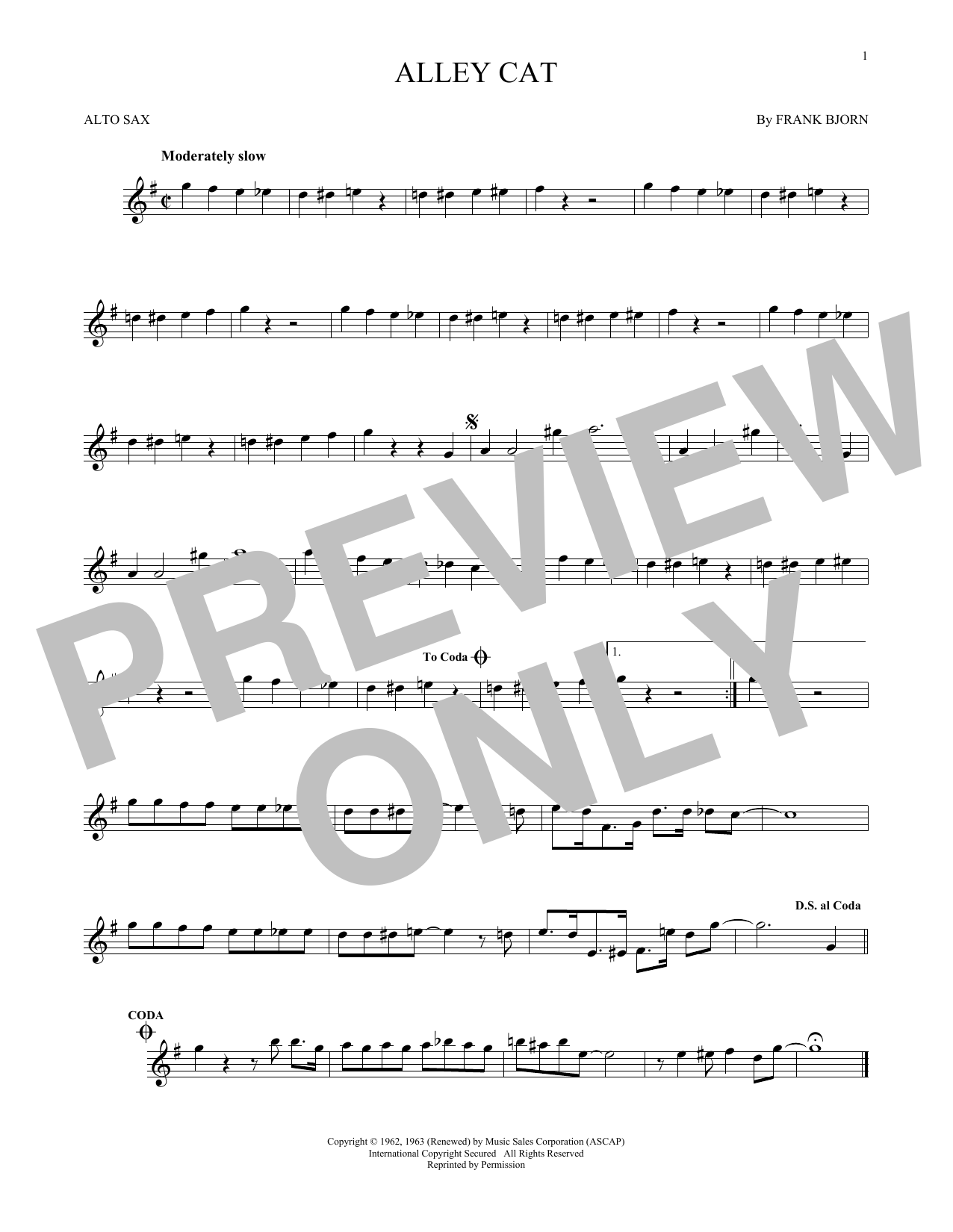 Bent Fabric Alley Cat sheet music notes and chords. Download Printable PDF.