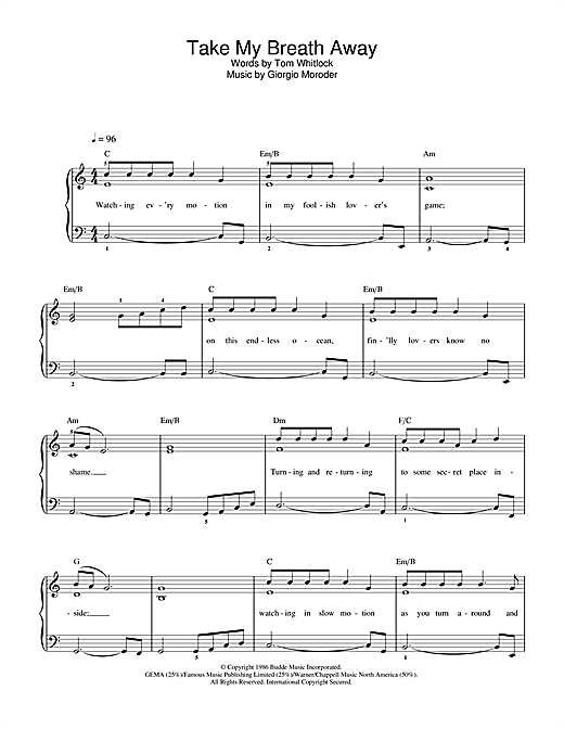 Berlin Take My Breath Away sheet music notes and chords. Download Printable PDF.