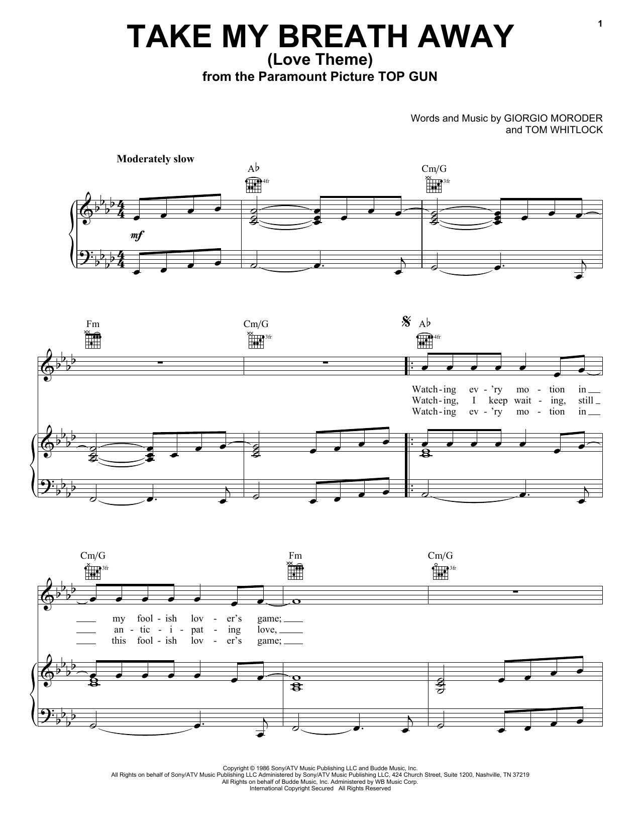 Berlin Take My Breath Away (Love Theme) sheet music notes and chords. Download Printable PDF.