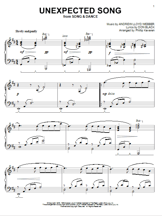 Bernadette Peters Unexpected Song (from Song & Dance) (arr. Phillip Keveren) sheet music notes and chords