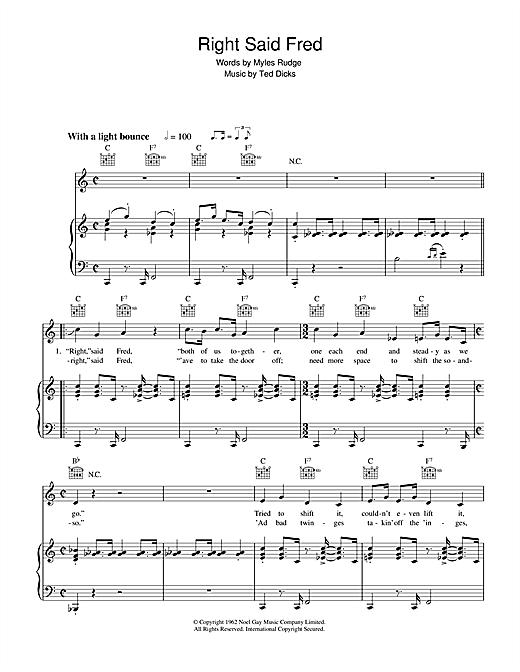 Bernard Cribbins Right Said Fred sheet music notes and chords. Download Printable PDF.