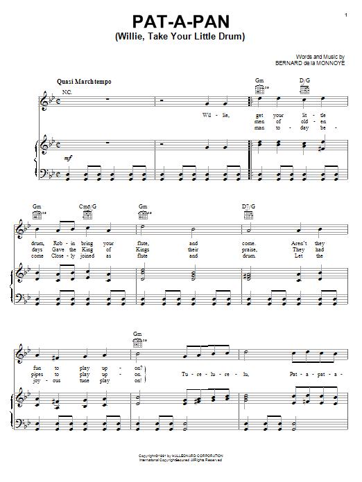 Bernard de la Monnoye Pat-A-Pan (Willie, Take Your Little Drum) sheet music notes and chords. Download Printable PDF.