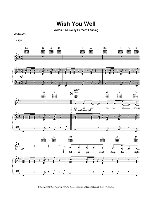 Bernard Fanning Wish You Well sheet music notes and chords. Download Printable PDF.