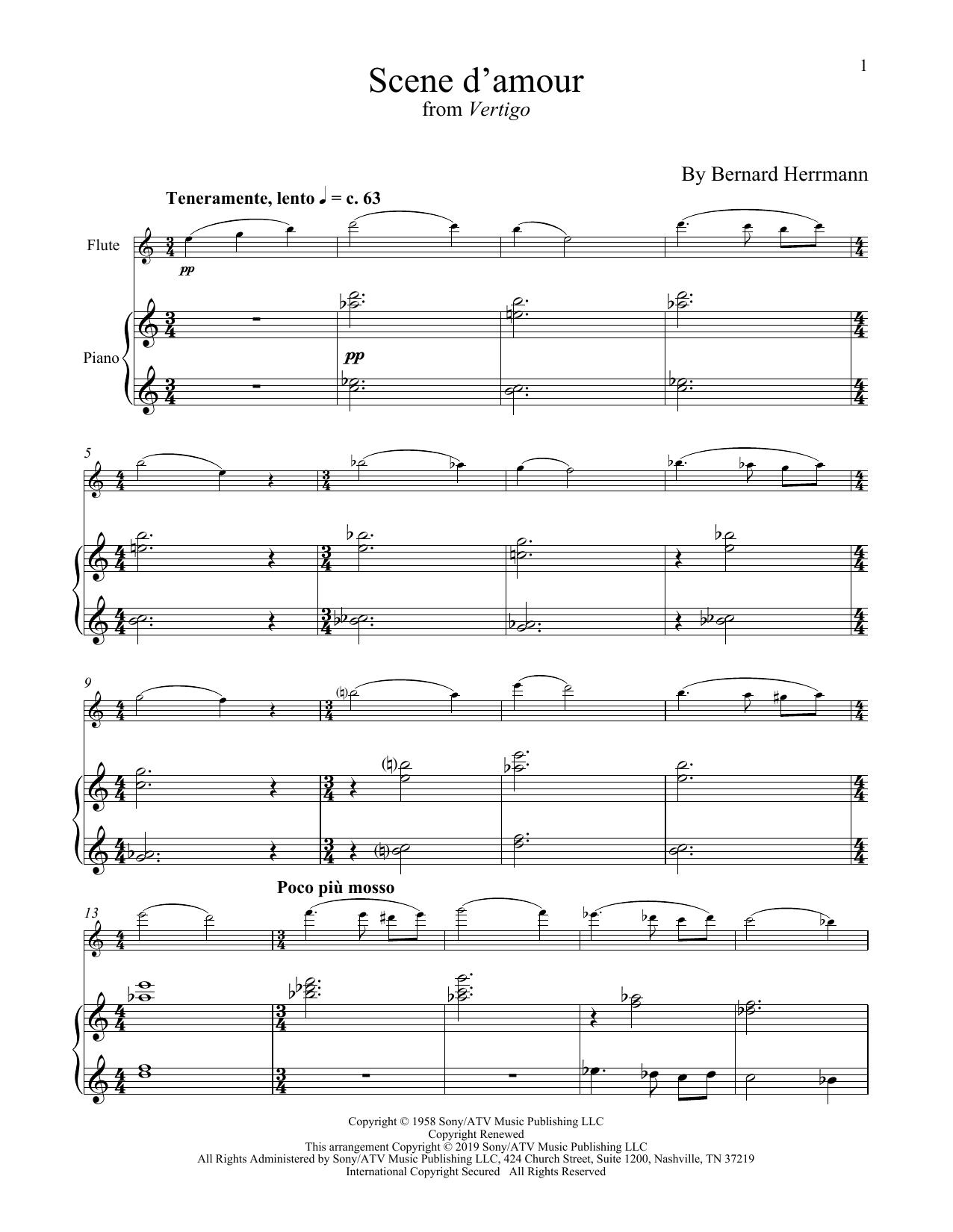 Bernard Hermann Scene D'Amour (from Vertigo) sheet music notes and chords. Download Printable PDF.