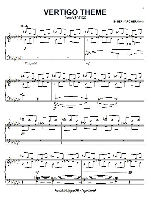 Bernard Hermann Vertigo Theme sheet music notes and chords
