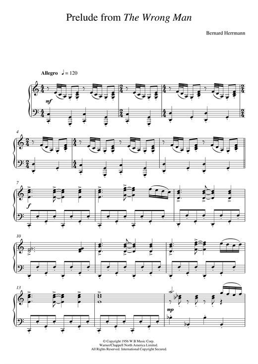 Bernard Herrmann Prelude From The Wrong Man sheet music notes and chords. Download Printable PDF.