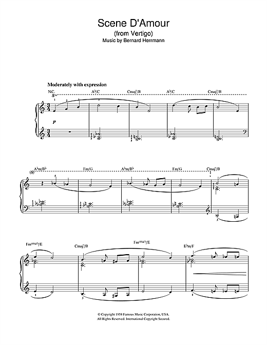 Bernard Herrmann Scene D'Amour (from Vertigo) sheet music notes and chords. Download Printable PDF.