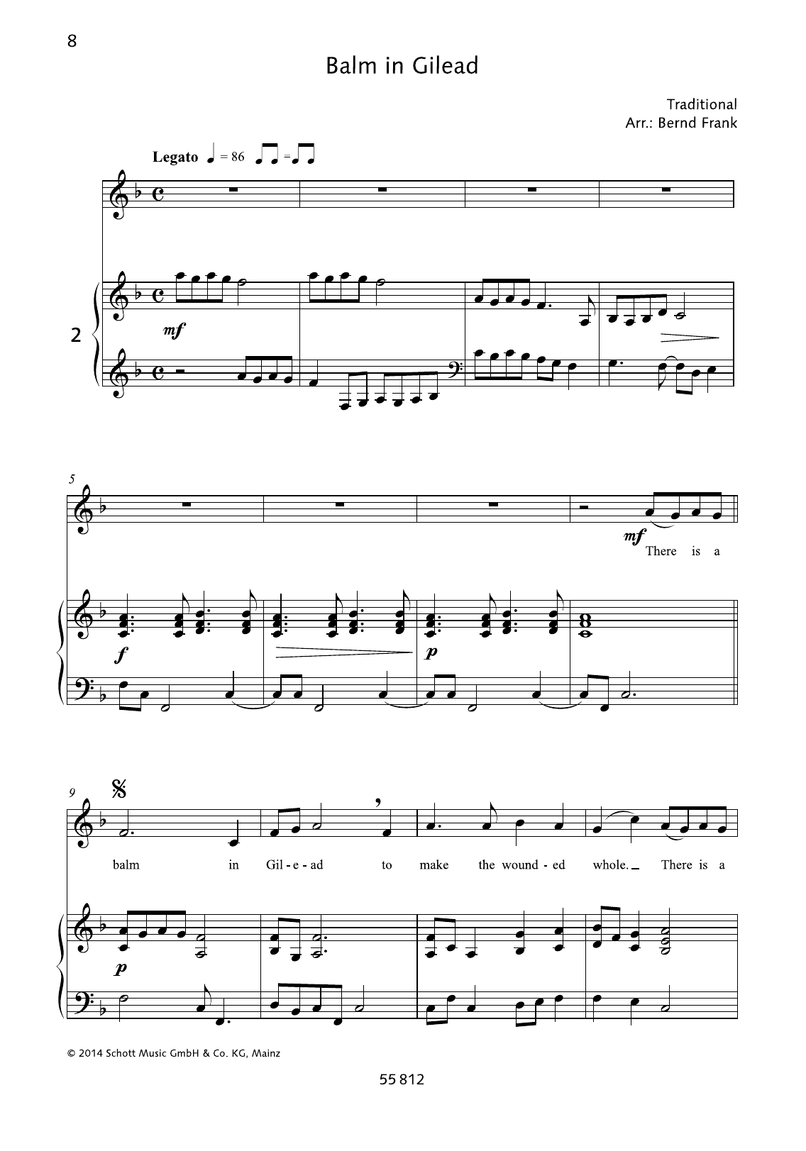 Bernd Frank Balm in Gilead sheet music notes and chords. Download Printable PDF.