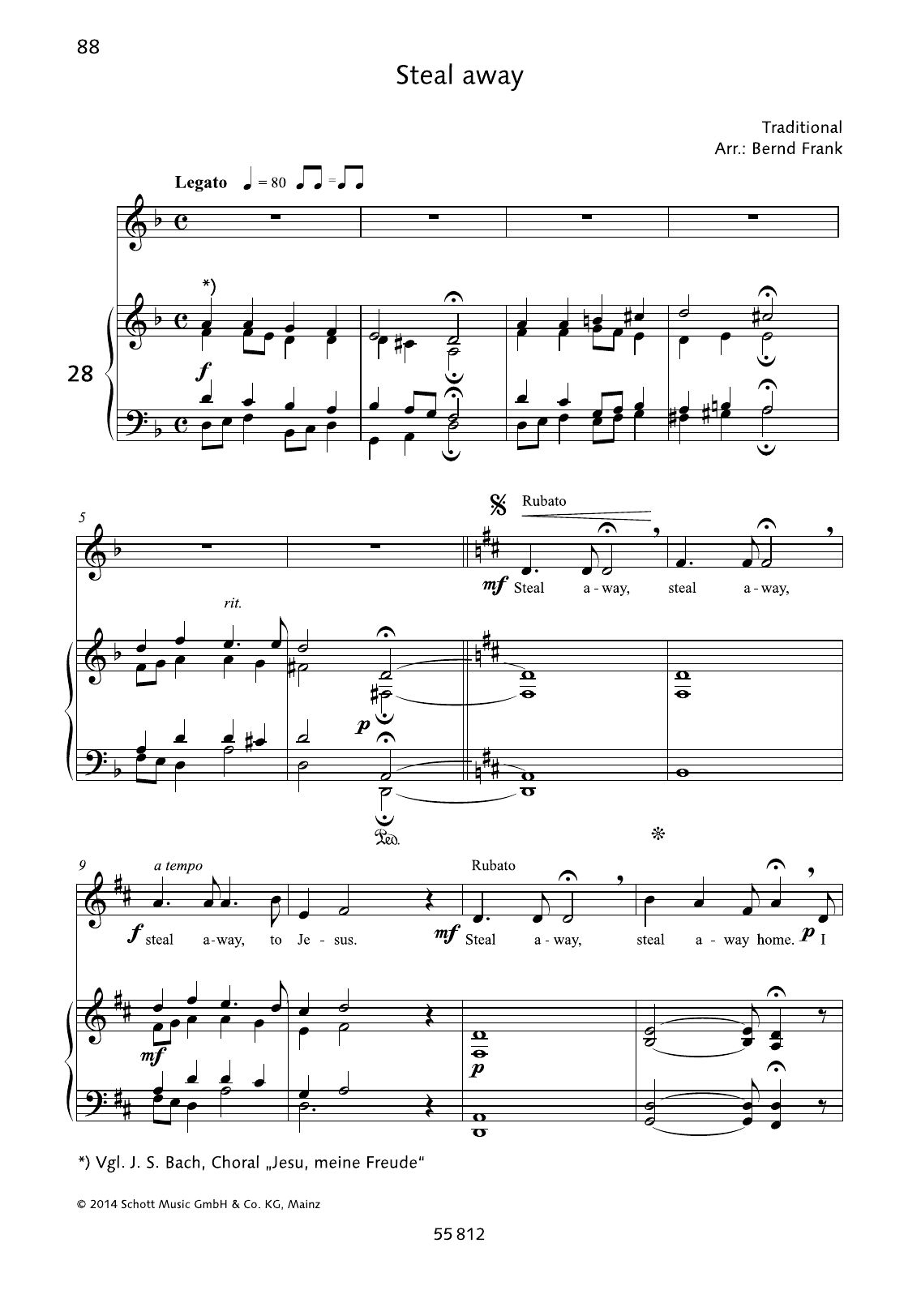 Bernd Frank Steal Away sheet music notes and chords. Download Printable PDF.