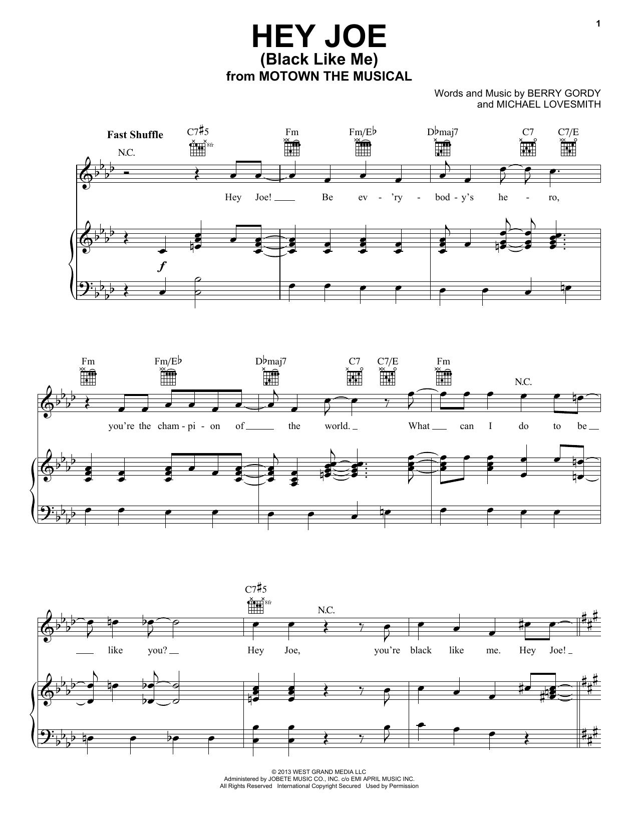 Berry Gordy Hey Joe (Black Like Me) sheet music notes and chords. Download Printable PDF.