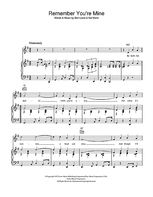 Bert Lowe Remember You're Mine sheet music notes and chords. Download Printable PDF.