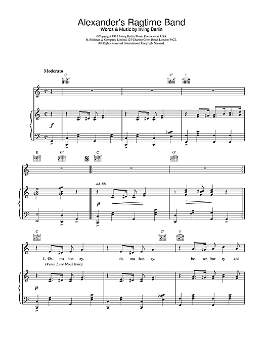 Bessie Smith Alexander's Ragtime Band sheet music notes and chords
