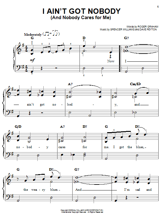 Bessie Smith I Ain't Got Nobody (And Nobody Cares For Me) sheet music notes and chords. Download Printable PDF.
