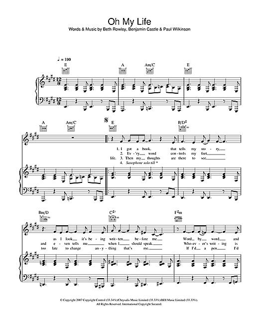 Beth Rowley Oh My Life sheet music notes and chords