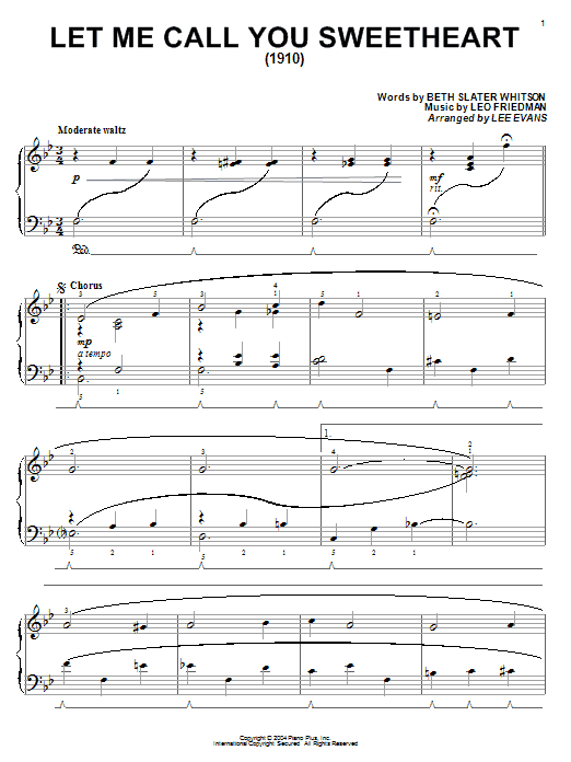 Beth Slater Whitson Let Me Call You Sweetheart sheet music notes and chords. Download Printable PDF.