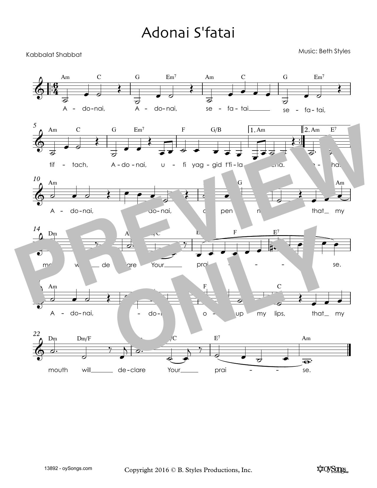 Beth Styles Adonai S'fatai sheet music notes and chords. Download Printable PDF.