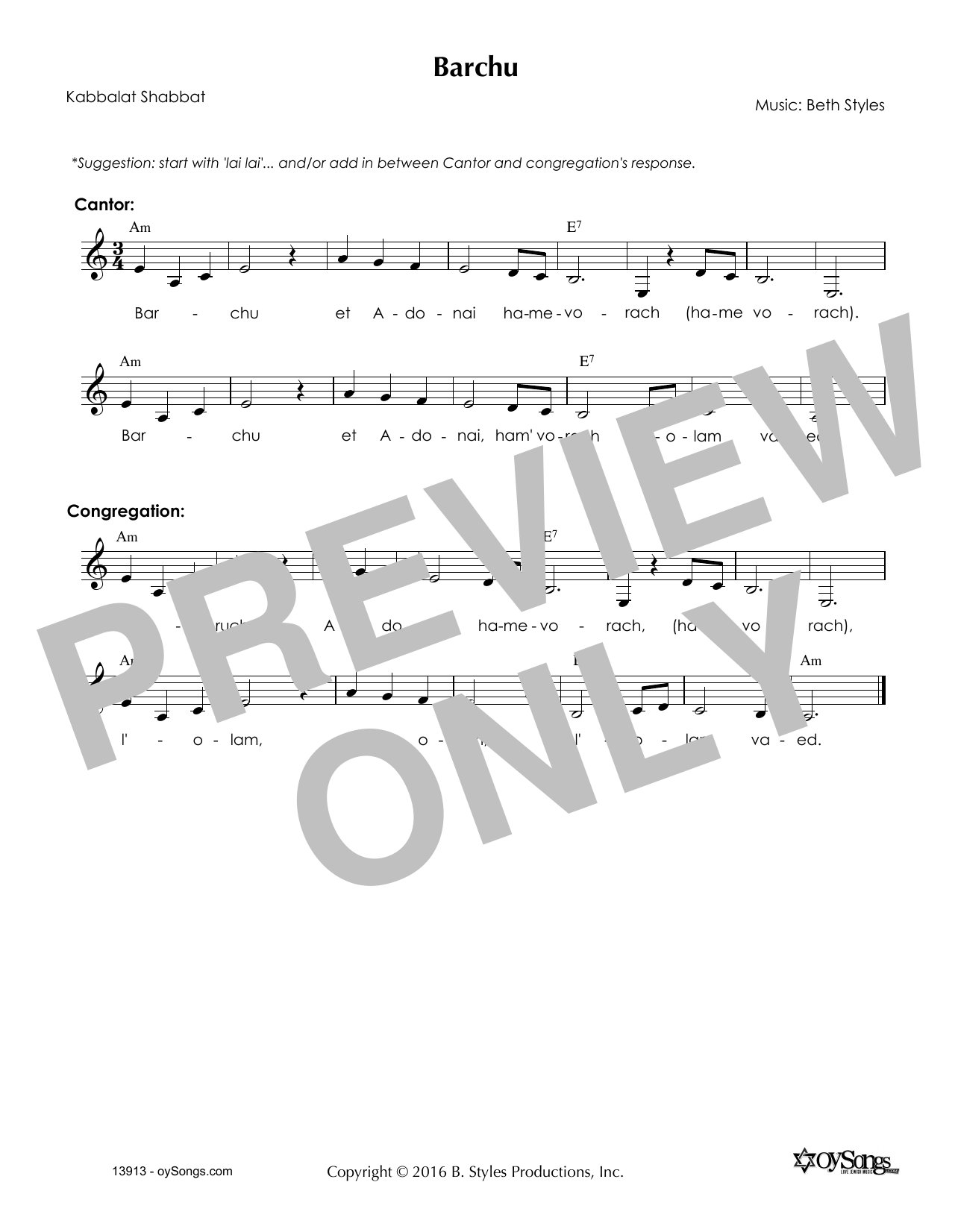 Beth Styles Barchu sheet music notes and chords. Download Printable PDF.