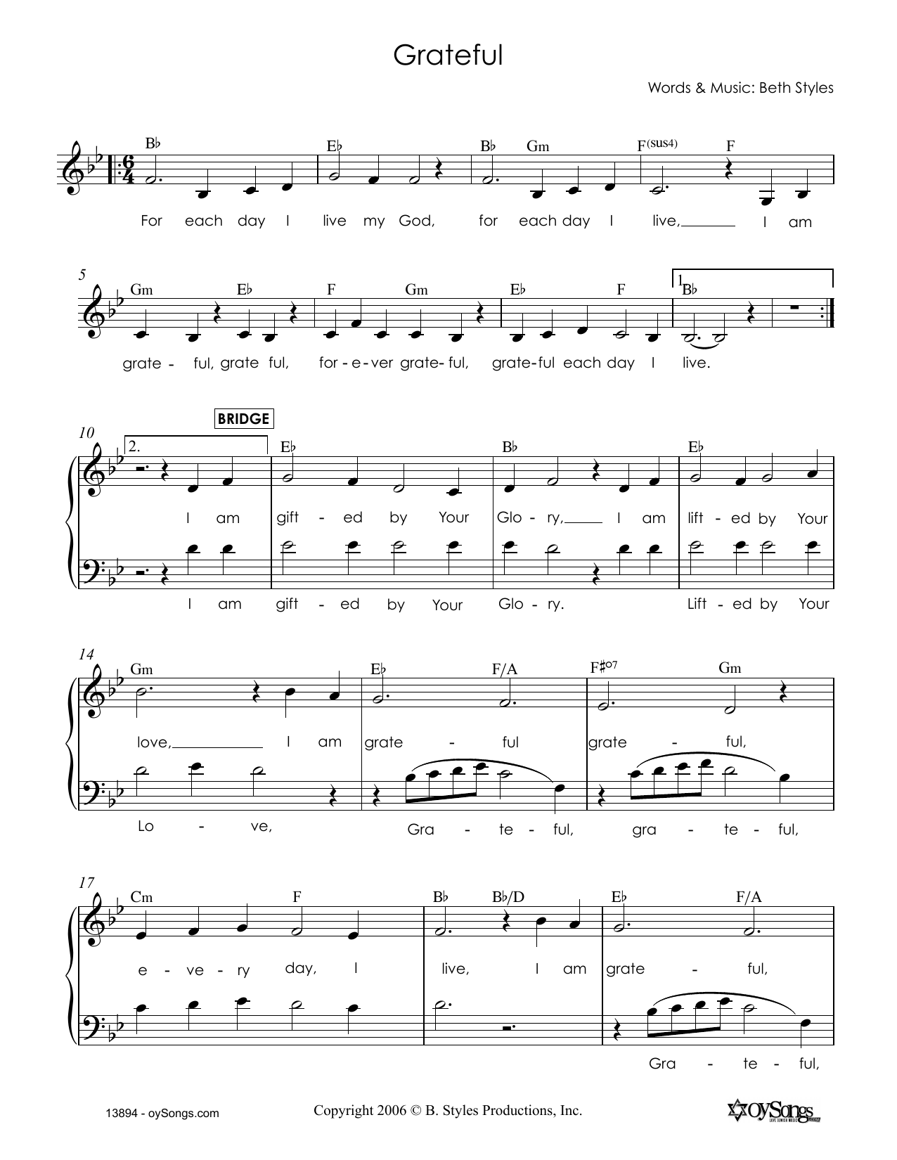 Beth Styles Grateful sheet music notes and chords. Download Printable PDF.