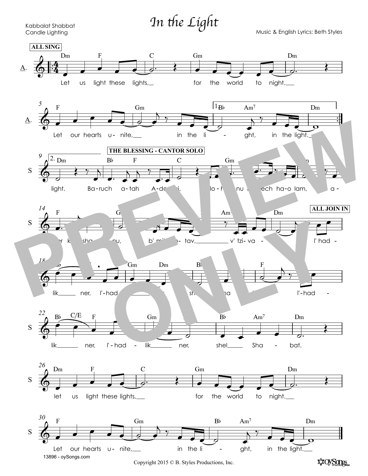 Beth Styles In the Light sheet music notes and chords. Download Printable PDF.
