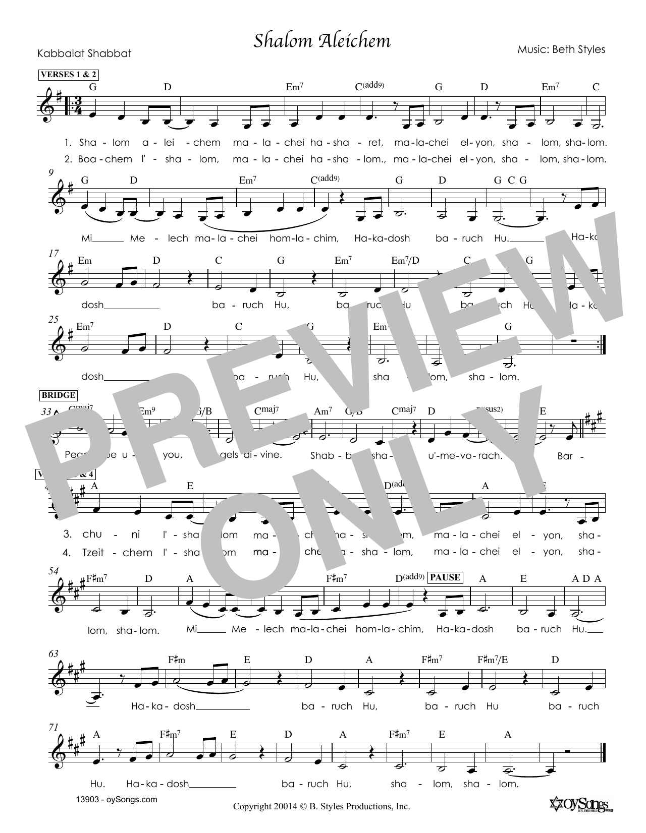 Beth Styles Shalom Aleichem sheet music notes and chords. Download Printable PDF.