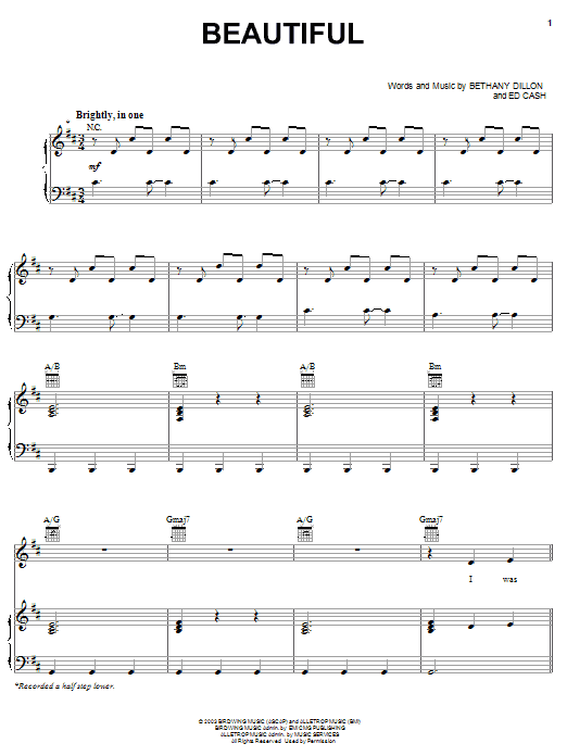 Bethany Dillon Beautiful sheet music notes and chords. Download Printable PDF.