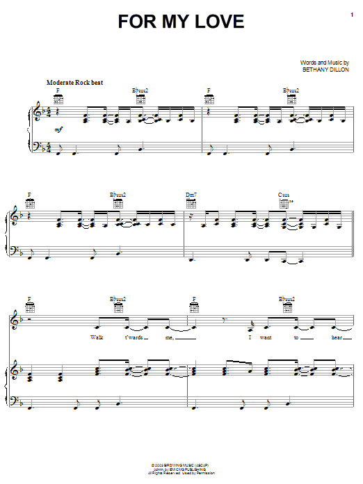 Bethany Dillon For My Love sheet music notes and chords. Download Printable PDF.