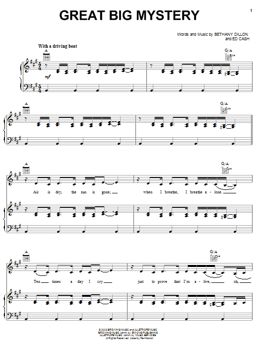 Bethany Dillon Great Big Mystery sheet music notes and chords. Download Printable PDF.