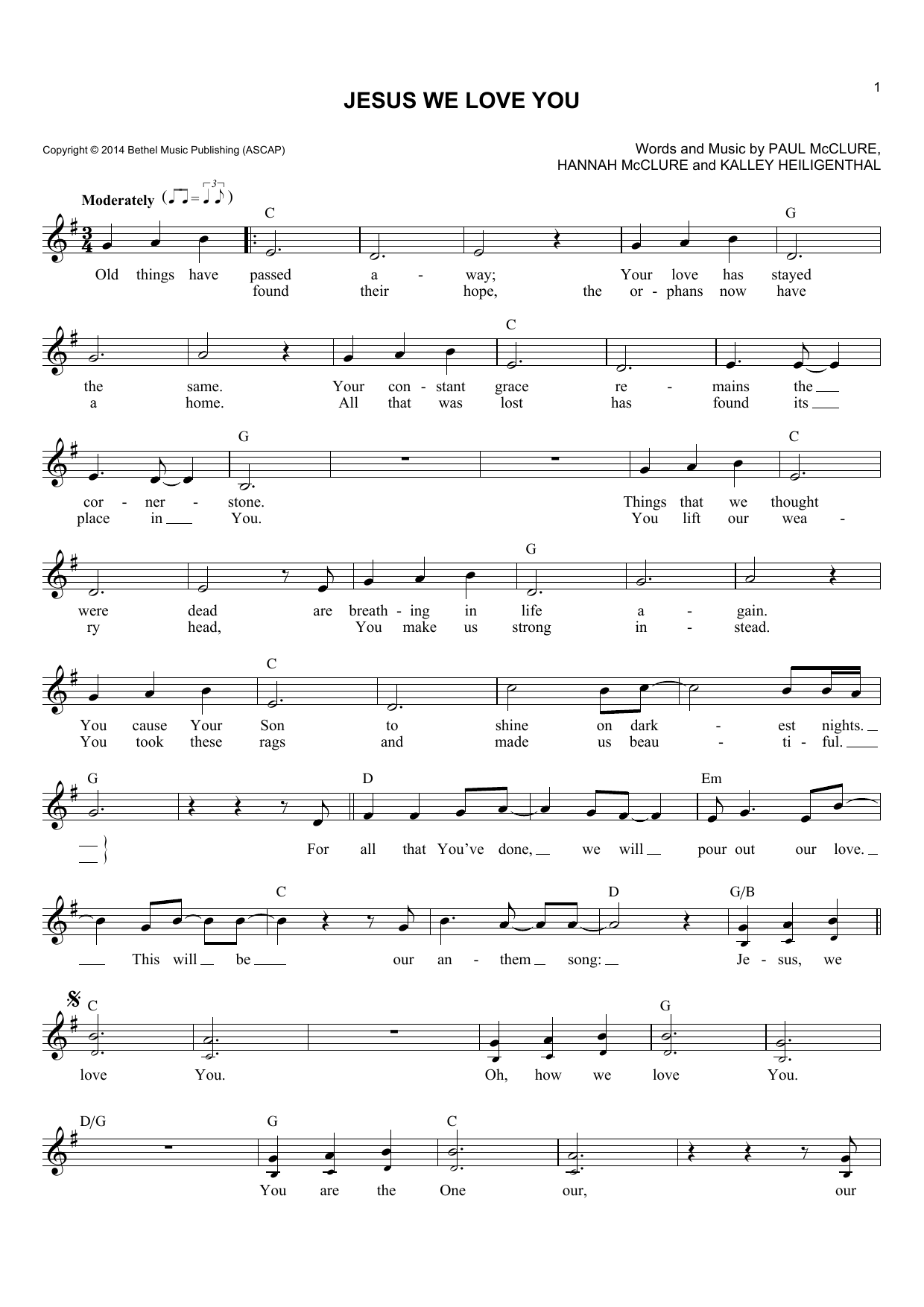 Bethel Music Jesus We Love You sheet music notes and chords