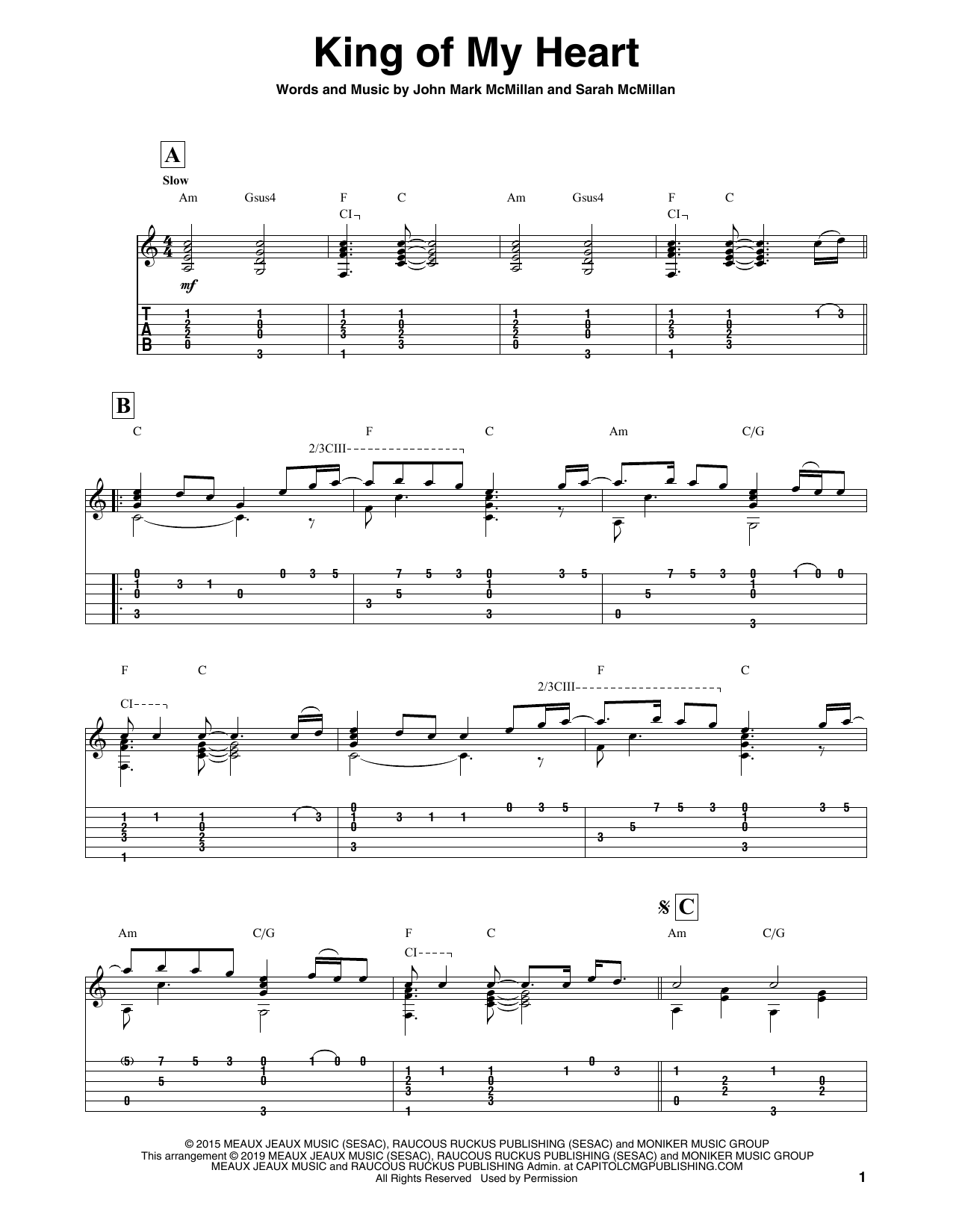 Bethel Music King Of My Heart Sheet Music Notes, Chords   Download  Printable Solo Guitar Tab PDF Score   SKU 15