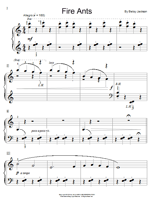 Betsy Jackson Fire Ants sheet music notes and chords. Download Printable PDF.