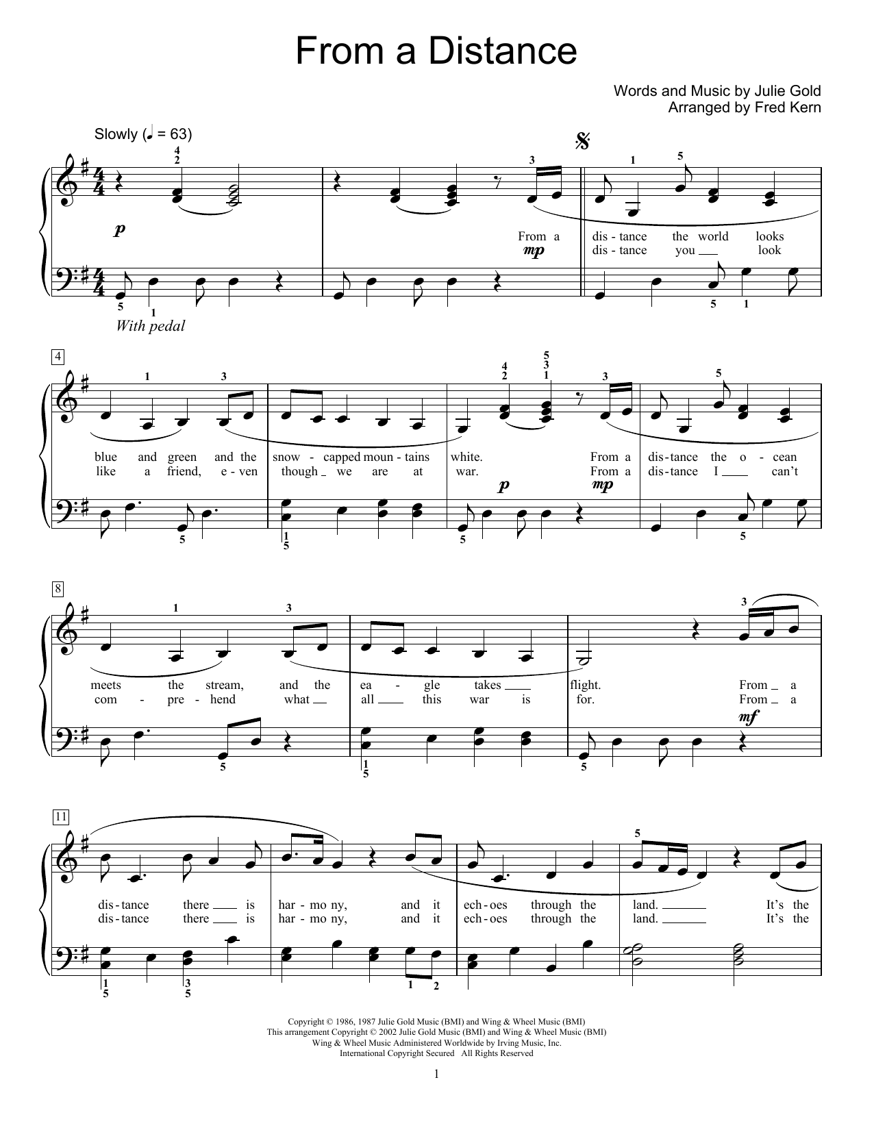 Bette Midler From A Distance (arr. Fred Kern) sheet music notes and chords. Download Printable PDF.