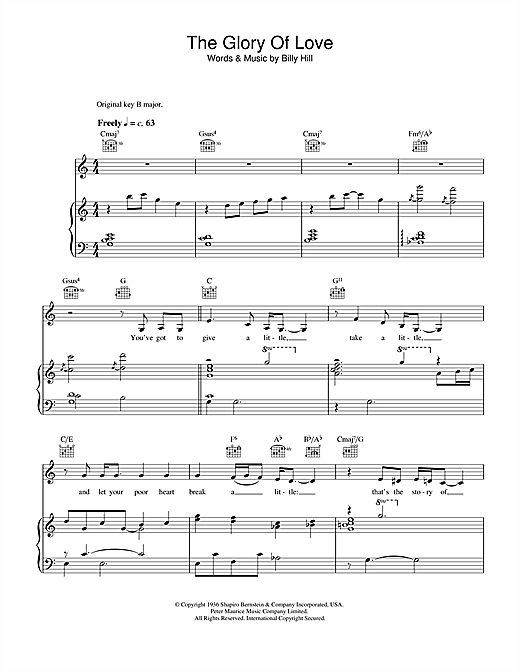 Bette Midler The Glory Of Love sheet music notes and chords. Download Printable PDF.