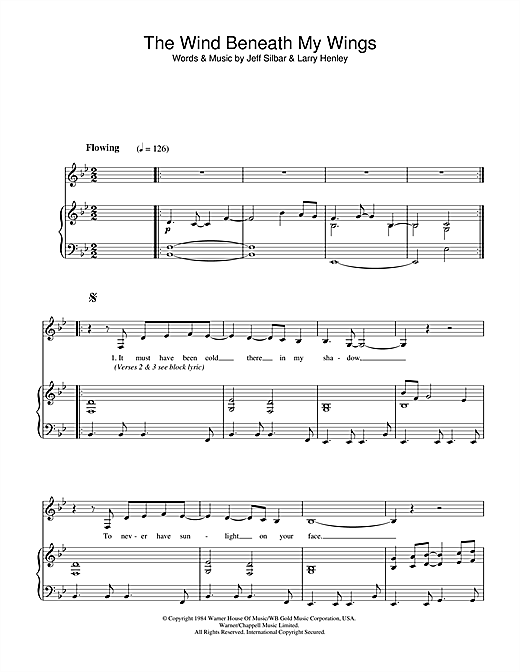 Bette Midler The Wind Beneath My Wings sheet music notes and chords. Download Printable PDF.