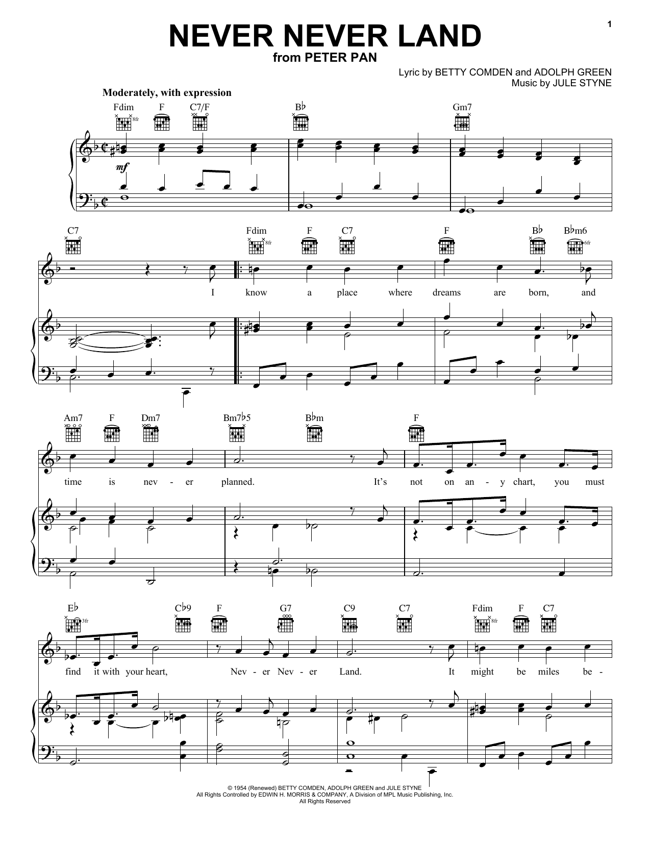 Betty Comden Never Never Land sheet music notes and chords. Download Printable PDF.
