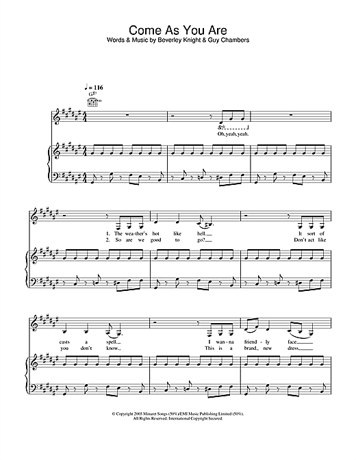 Beverley Knight Come As You Are sheet music notes and chords. Download Printable PDF.
