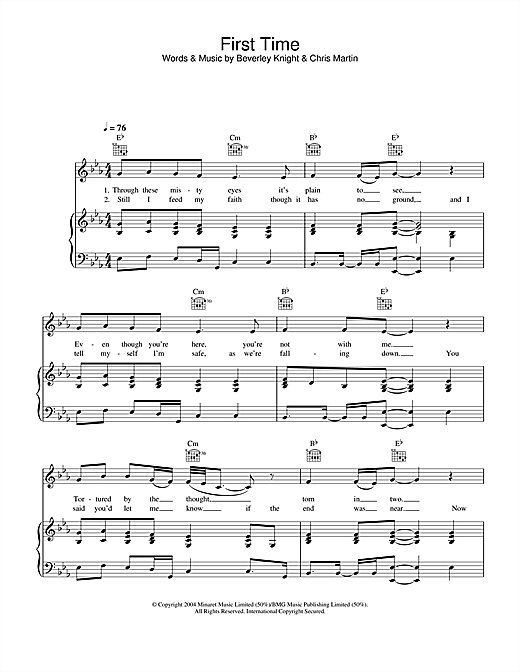 Beverley Knight First Time sheet music notes and chords. Download Printable PDF.