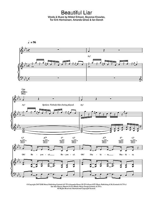Beyoncé & Shakira Beautiful Liar sheet music notes and chords