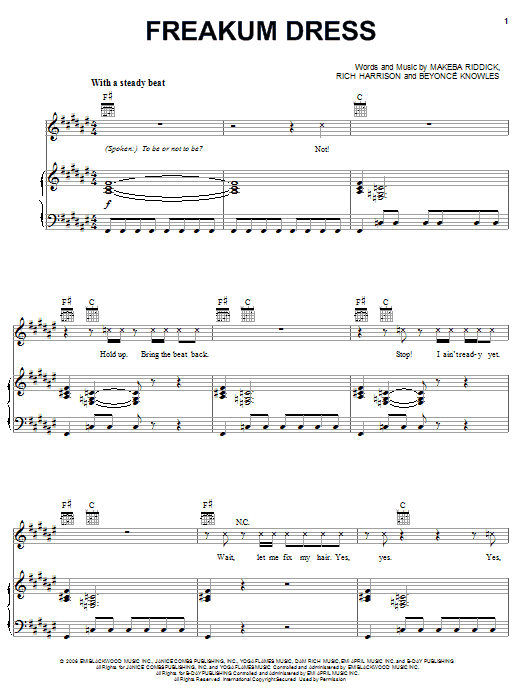 Beyonce Freakum Dress sheet music notes and chords. Download Printable PDF.