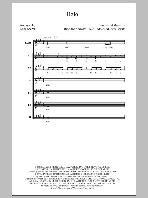 Beyonce Halo (arr. Deke Sharon) sheet music notes and chords. Download Printable PDF.