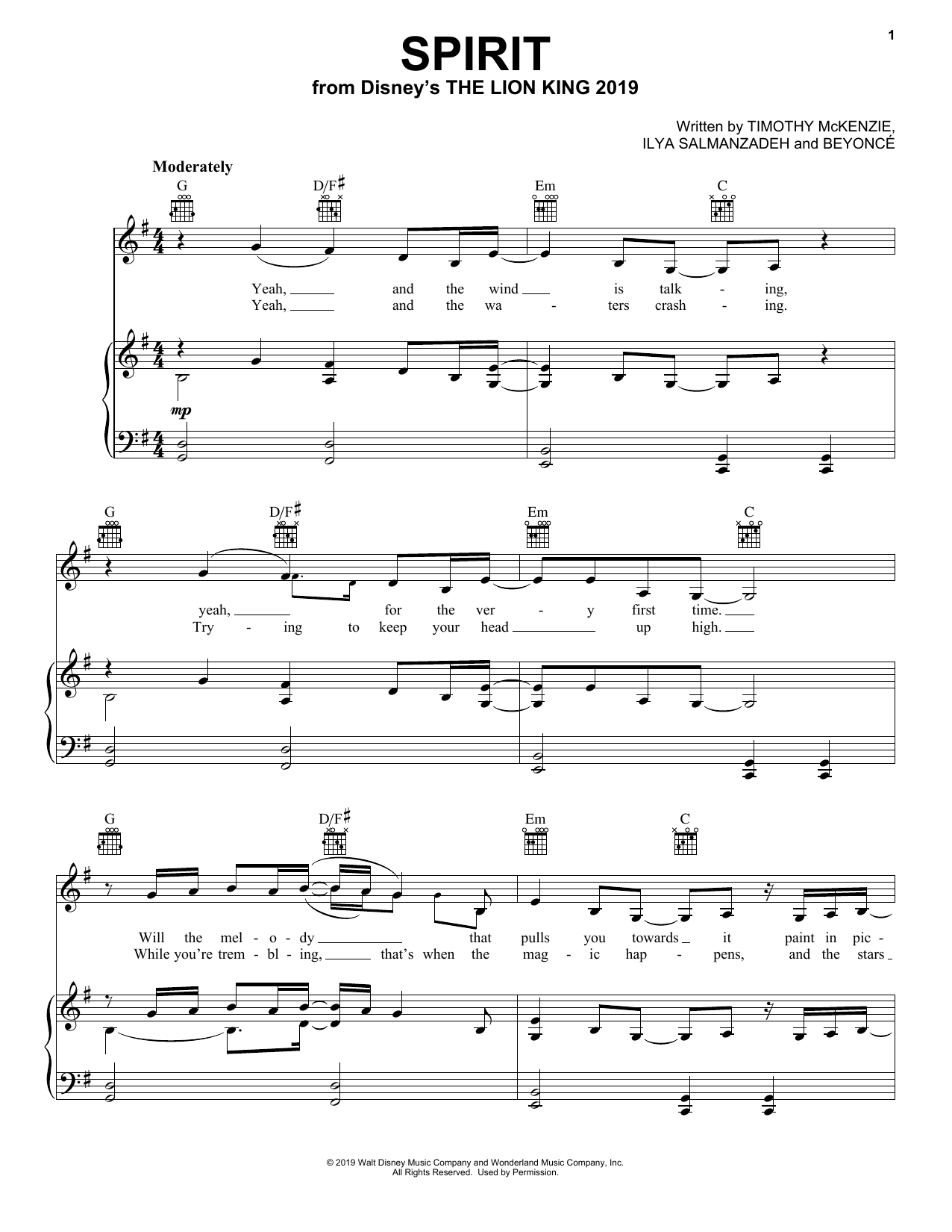 Beyonce Spirit (from The Lion King 2019) sheet music notes and chords