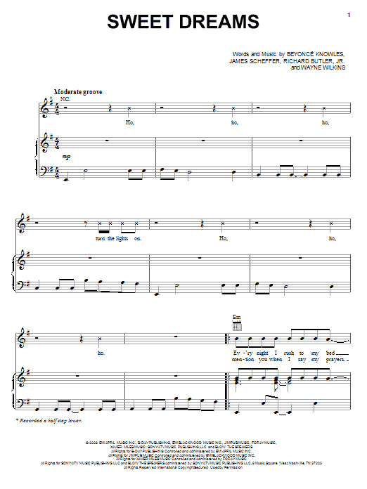 Beyoncé Sweet Dreams sheet music notes and chords. Download Printable PDF.