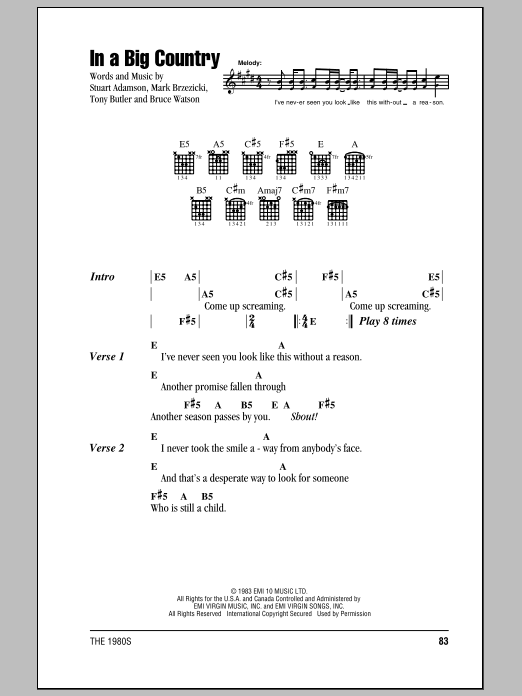 Big Country In A Big Country sheet music notes and chords. Download Printable PDF.